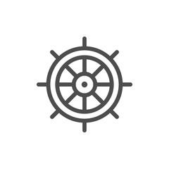 Ship steering wheel line icon