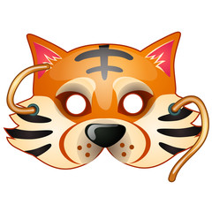 Tiger mask with strings drawn in cartoon style. Carnival and masquerade accessories. Vector illustration isolated on white background
