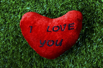 Red heart with I love you