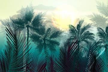 Tropical vector jungle landscape with palm trees and leafs. Morning green light