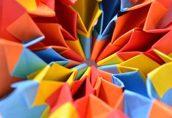Colorful paper origami close up detail