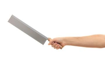 Hand holding a saw on white background