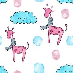 Watercolor seamless pattern vector / background. Cute pink giraffe