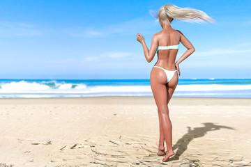 3D beautiful sun-tanned woman turquoise swimsuit bikini on sea beach. Summer rest. Blue ocean background. Sunny day. Conceptual fashion art. Seductive candid pose. Realistic render illustration.