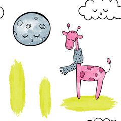 Watercolor seamless pattern vector / background. Cute pink giraffe