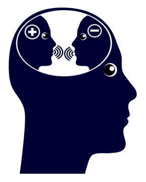 Self talk or inner voice. The internal chatter in the brain with negative and positive thoughts