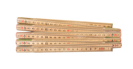 Wooden meter isolated on white background, top view