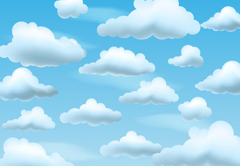 Clear blue sky with clouds. Vector background.