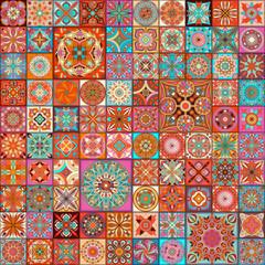 Seamless pattern with decorative mandalas. Vintage mandala elements. Colorful patchwork.