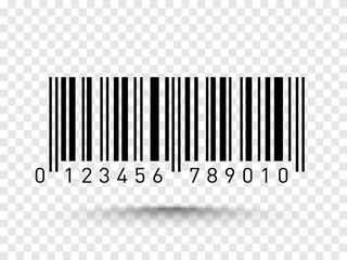 Barcode isolated on transparent background. Vector icon