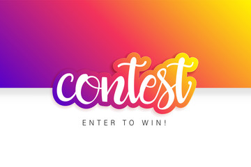 Contest banner. Tournament banner. Giveaway banner. Colorful design.