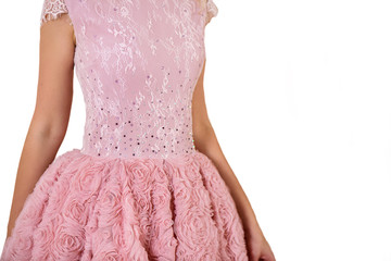 Beautiful princess style dress with delicate lace close up detail isolated on white background