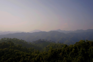 Mountain landscape bird eye view