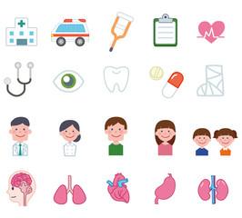 医療・病院に関するアイコンセット:イラスト素材
