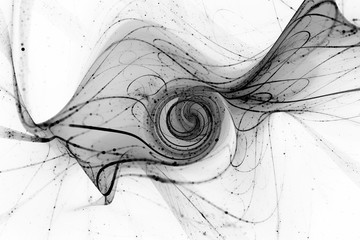 Futuristic spiral with particles and trajectories inverted black and white texture