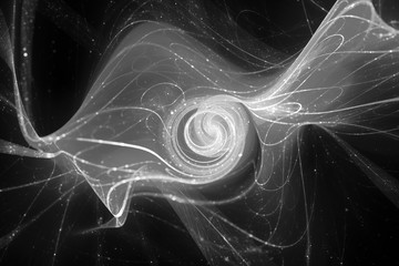 Futuristic glowing spiral with particles and trajectories black and white texture