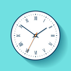 Simple Clock icon in flat style with Roman numerals. Minimalistic timer on color background. Business watch. Vector design element for you project