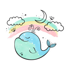 The whale and the rainbow. Watercolor vector illustration