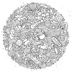 Australian doodles elements and symbols round illustration