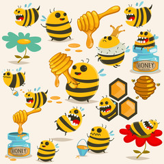 Cute bee cartoon character vector set. Illustration with the honey, beehive, stick, jar, honeycomb, etc.