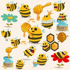 Cute bee cartoon character vector set. Illustration with the honey, beehive, stick, jar, honeycomb, etc.