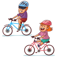 Couple bike riding. Happy boy and girl cycling. Healthy lifestyle and bicycle sport. Vector cartoon illustration isolated on white background.