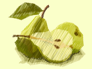 Vector illustration of drawing fruit pears.