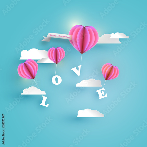 Abstract pink heart balloon carrying love letter in blue sky with abstract pink heart balloon carrying love letter in blue sky with white clouds and frame m4hsunfo