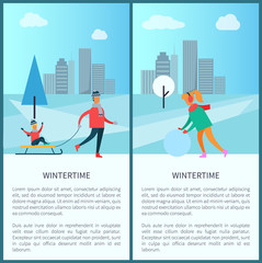 Wintertime and Cityscape Set Vector Illustration