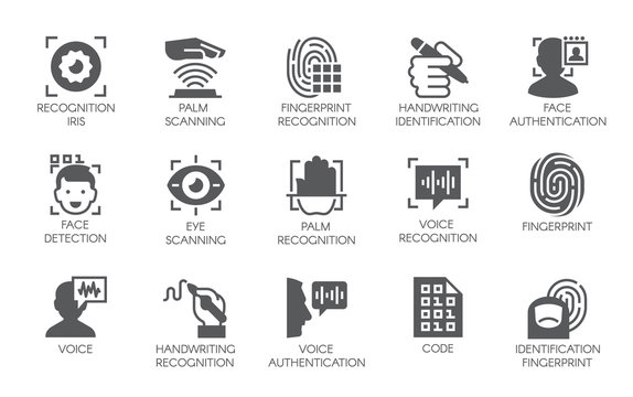 Set of 15 flat icons - biometric authorization, identification and verification symbols. Fingerprint recognition, eye and palm scanning, face and voice authentication. Vector illustration isolated