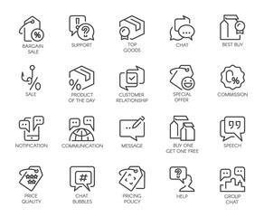 Set of 20 line icons for online or offline stores, shopping, booking sites and mobile apps, comments or message chat bubbles, support and other symbols. Graphic contour logo isolated