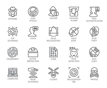 20 icons of virtual protection, cyberattacks, hacking, modern scan authentication theme. Contour symbols of web protection and recognition. Set of outline vector signs isolated on white background
