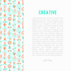 Creative concept with thin line icons: generation of idea, start up, brief, brainstorming, puzzle, color palette, creative vision, genius. Modern vector illustration for banner, web page, print media.