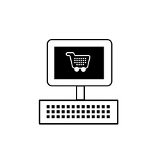 Online Shopping icon line outline style isolated on white background for your web and mobile app design, vector illustration