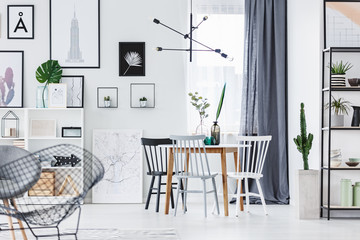 Modern lamp above table