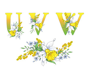 Spring bright letters with daffodils and forget-me-nots.