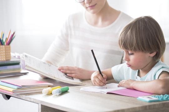 Smart child doing homework