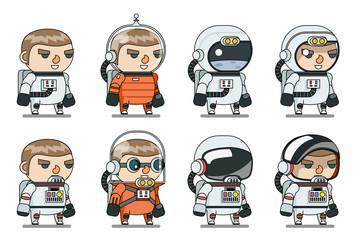 Space Sci-fi Cosmonaut Astronaut Spaceman Icons Set Cartoon RPG Game Lineart Flat Design Vector Illustration