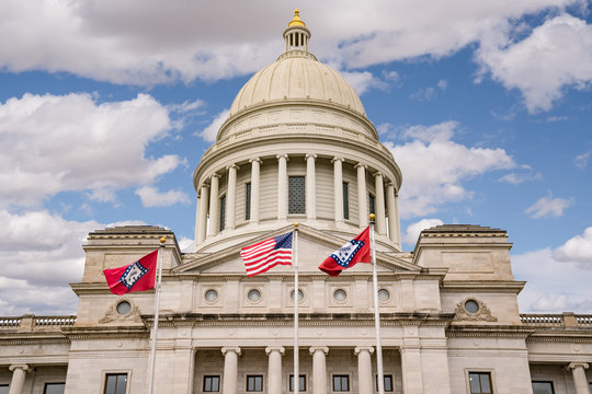 Flags Fly at the Arkansas Capitol Building in Little Rock, Arkansas