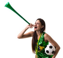 Brazilian young girl fan celebrating