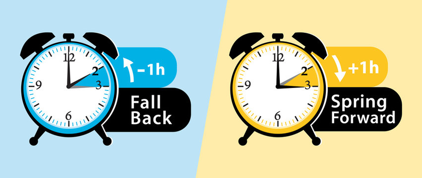 Daylight saving time. Spring forward and fall back alarm clocks set. vector illustration.