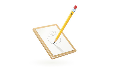 Pencil draw apple at white paper. Art tool for sketch. Isolated