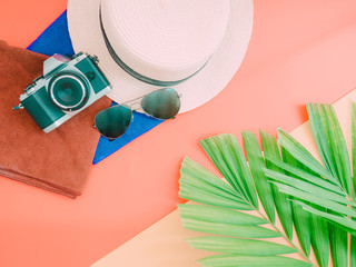 flat lay for summer background with palm leaf , camera and beach hat on pastel background