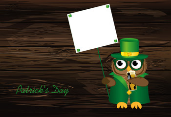 Happy owl with beer in a national costume and hat on St. Patrick