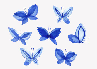 Set of illustrations of watercolor butterflies.