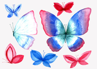 A collection of watercolor butterfly illustrations.