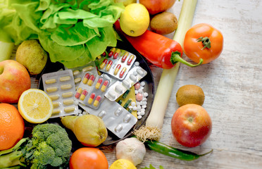 Healthy eating - healthy food, eating organic fruit and vegetable and nutrition supplement in proper diet