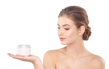 Woman with cream face skin care concept