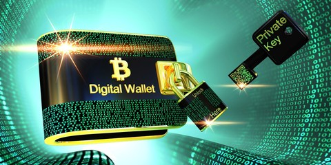 Bitcoins digital wallet with lock and private key on green digital tunnel,3D illustration concept.