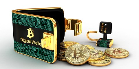 Bitcoins digital wallet  unlocked with coins and private key isolated on white background,3D illustration concept.